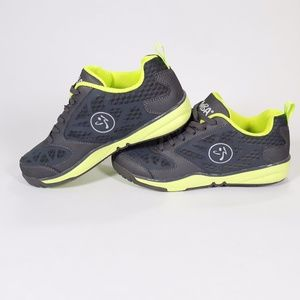 Zumba Wear Shoes Grey and Lime Green Size 5